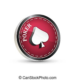 Red poker icon isolated on a white background
