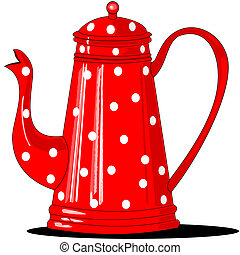 A red antique coffee pot that has white polka-dots