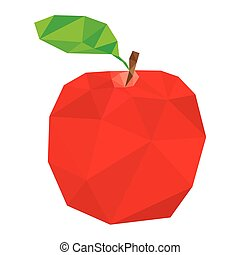 red polygonal apple vector