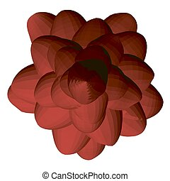Red polygonal flower isolated on a white background. View from above. 3D. Vector illustration