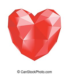 Red polygonal heart on white background, vector