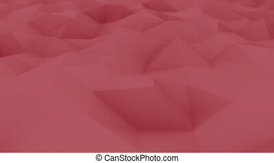 Red polygonal motion background, shallow focus. Seamless...
