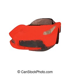 Red polygonal sports car, vector illustration