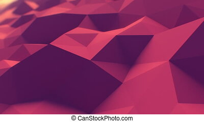Red Polygonal Surface Slow Waving in Looped 3d Animation. Seamless Background Concept