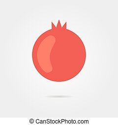 red pomegranate icon with shadow