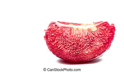Red pomelo pulp with seeds isolated on white background with clipping path. Thailand Siam ruby pomelo fruit. Natural source of vitamin C (antioxidants) and potassium. Healthy food for slow down aging
