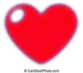 Red pop art heart shape icon.