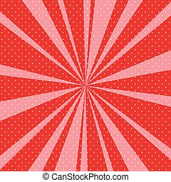 Red Pop Art Retro Background with Sunbeams