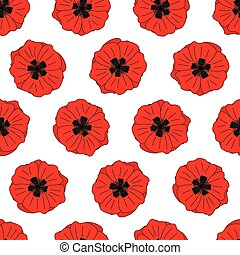 Red poppies - Seamles pattern made of red illustrated...