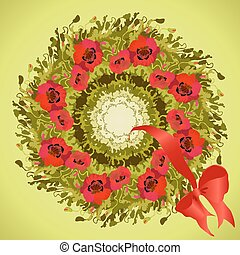 Red poppies flower wreath and ribbon with bow, circle frame.