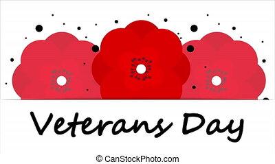 Red poppies for veterans day, art video illustration.