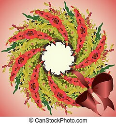 Red poppies garland wreath and ribbon with bow, circle frame.