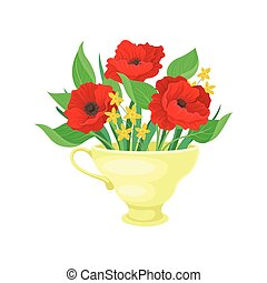 Red poppies in a yellow mug. Vector illustration on white background.