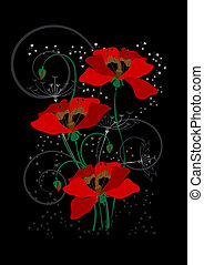 Red poppies on a black background.