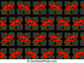 Red poppies on a black seamless bac