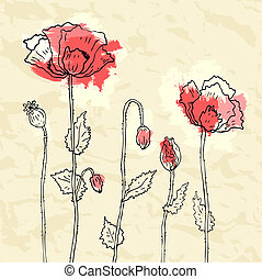 Red poppies on crumpled paper background. Vector illustration