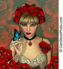 Red Poppies - Portrait of a Girl with red Poppies in her...