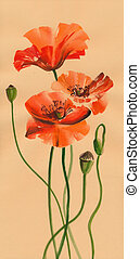 Red poppies watercolor painting