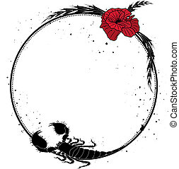 red poppy and scorpion - vector frame with flowers of red...