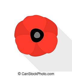 Red Poppy Flat Icon