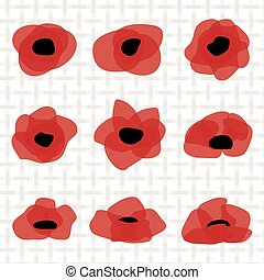 Red poppy flat icon. Stylized flower symbol.