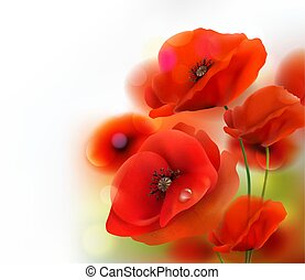 Red Poppy flower background. Vector illustration