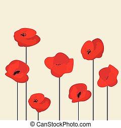 Red Poppy flower background, vector illustration