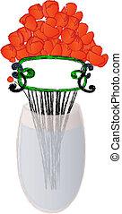 Red poppy in the vase