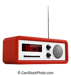 Red portable transistor radio with buttons, dial and aerial...