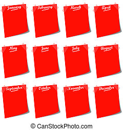 red post it with months calendar
