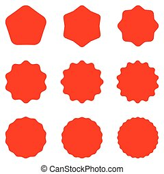 Red Postal stamps and postmarks. Collection different starburst. Set sunburst badges