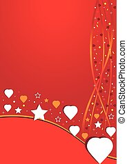 Red postcard with stars and heart