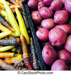 Red potatoes and colorful carrots