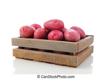 Red Potatoes in a Wood Crate