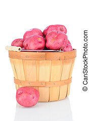 Red Potatoes in Basket on White