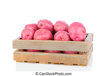 Red Potatoes in Wood Crate