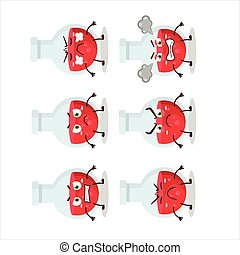 Red potion cartoon character with various angry expressions