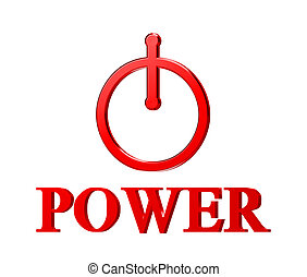 red power button isolated on white background