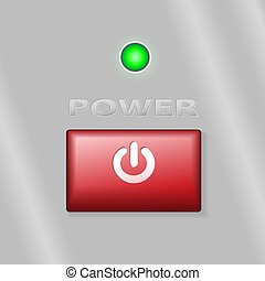 Red Power Button ON Background