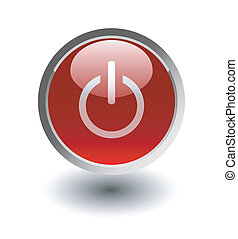 Red power button, vector icon, on white