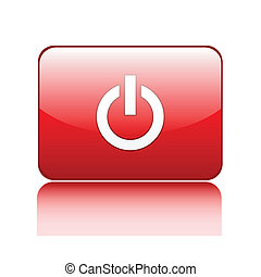 Red power glossy button sign