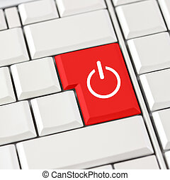 Red power icon on a computer keyboard - Conceptual image of...