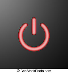 Red power sign. 3d rendering