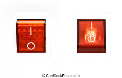 Red power switches on a white plastic background.
