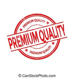 Red Premium Quality rubber stamp on white background.