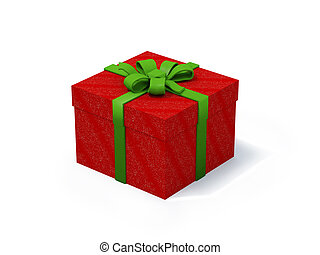 red present box with green ribbon on white background