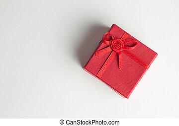 red present box over white