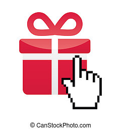 Pixelated hand clicking on gift - buying in shop online concept