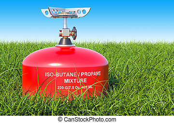 Red primus stove on the green grass against blue sky, 3D rendering
