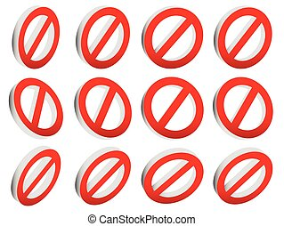 Red prohibition, restriction - No entry sign. Vector Illustration